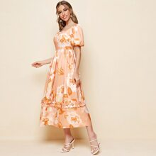 Square Neck Puff Sleeve Frill Trim Floral Dress