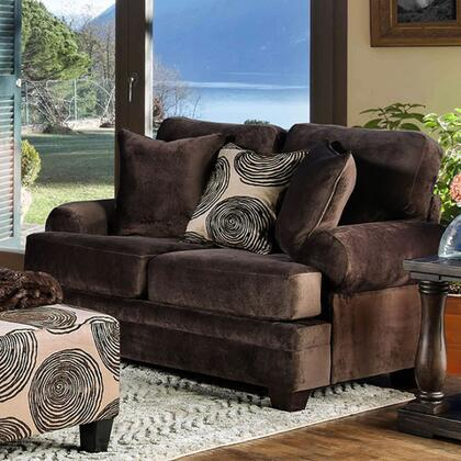 Bonaventura SM5142BR-LV Loveseat with Rolled Arms  Pillows Included and Microfiber Upholstery in