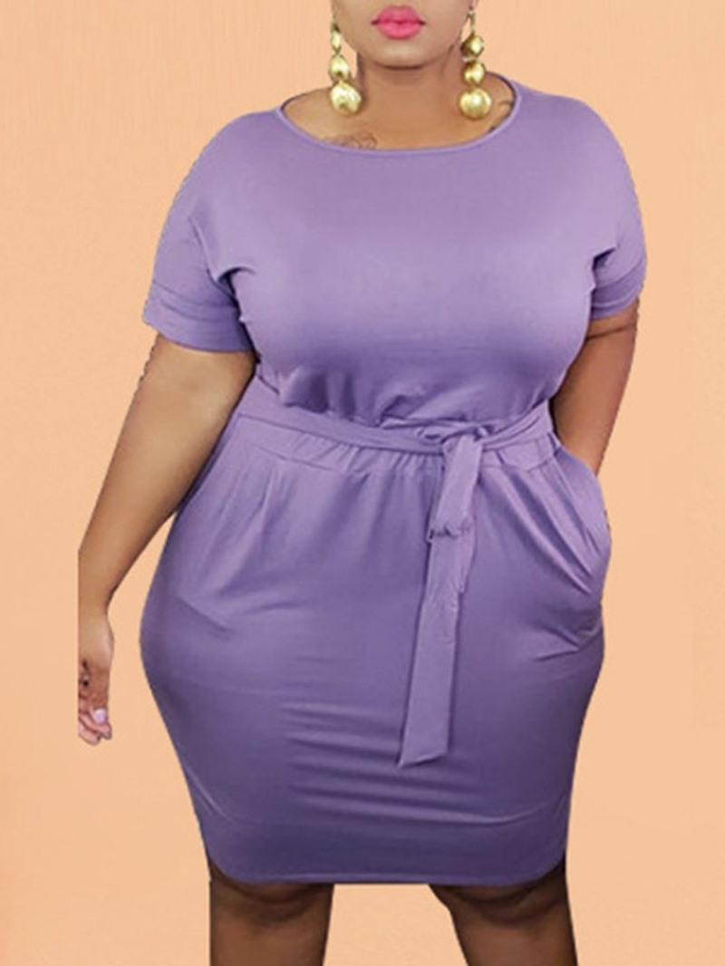 Ericdress Short Sleeve Lace-Up Round Neck Bodycon Plain Dress