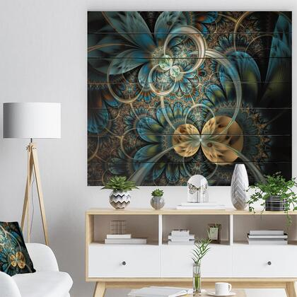 WD7277-40-30 Symmetrical Blue Gold Fractal Flower - Abstract Print On Natural Pine Wood -