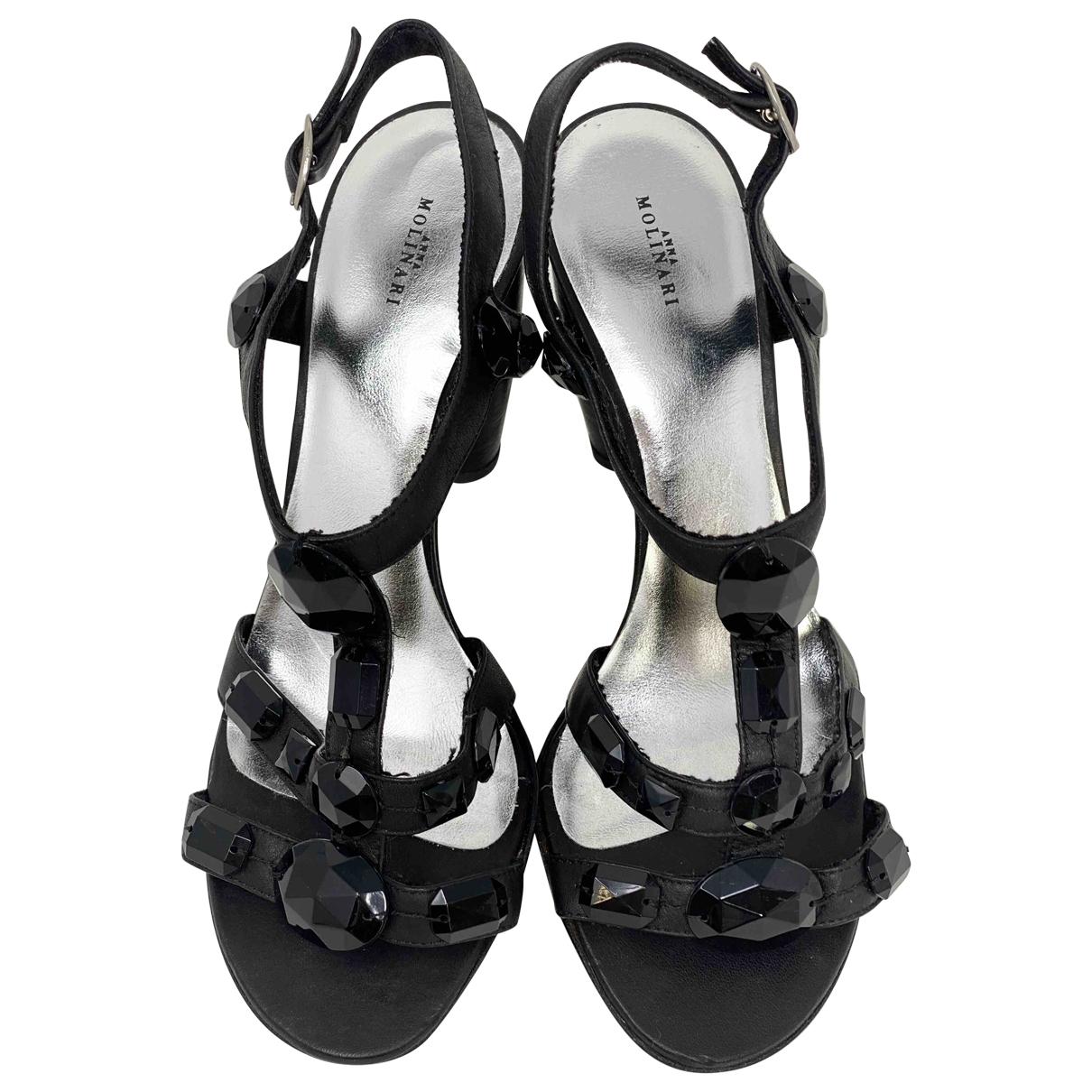 Anna Molinari \N Black Leather Sandals for Women 37.5 IT