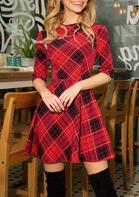 Plaid O-Neck Mini Dress