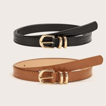 Cinturon con hebilla con patron de cocodrilo 2 piezas