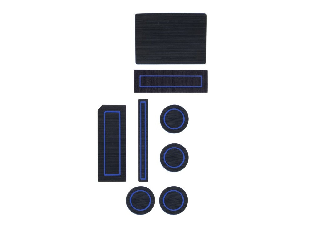 Tufskinz FRD018-FBL-X Interior Cup Holder Inserts Fits 2015-2016 F-150 Column Shifter W/Center Speaker 8 Piece Kit In Black/Blue