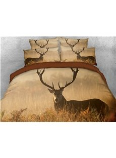 Reindeer Hidden in the Grass Printed 3D 4-Piece Bedding Sets/Duvet Cover