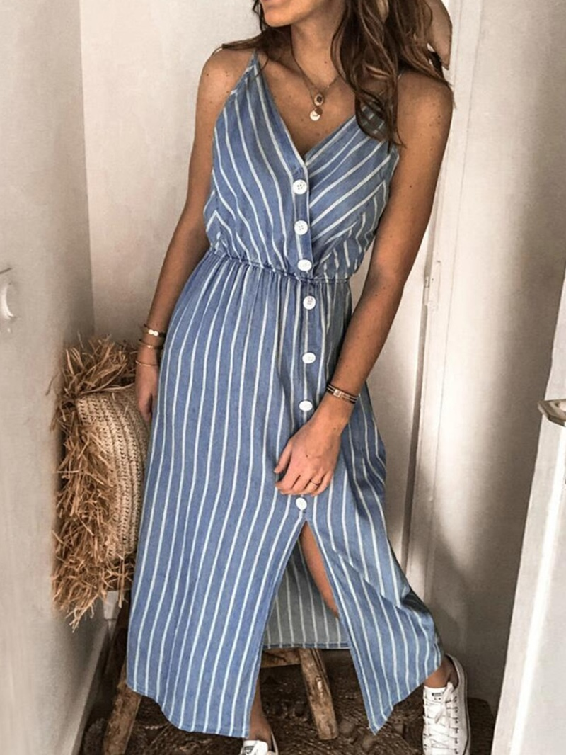 Ericdress V-Neck Sleeveless Split Casual Mid Waist Dress