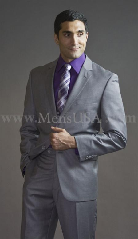2 Button 3 Piece Light Grey Fitted affordable suit online sale