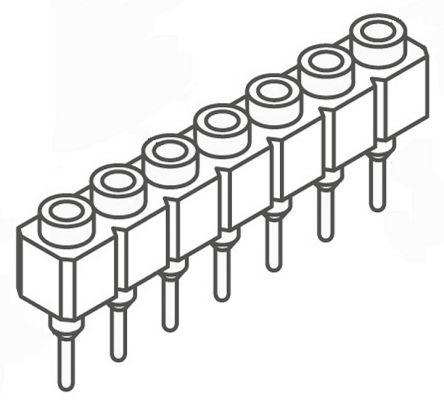Samtec , SS 2.54mm Pitch 7 Way 1 Row Straight PCB Socket, Through Hole, Solder Termination