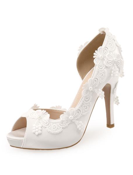 Milanoo White Wedding Shoes Satin Peep Toe Lace Detail High Heel Bridal Shoes