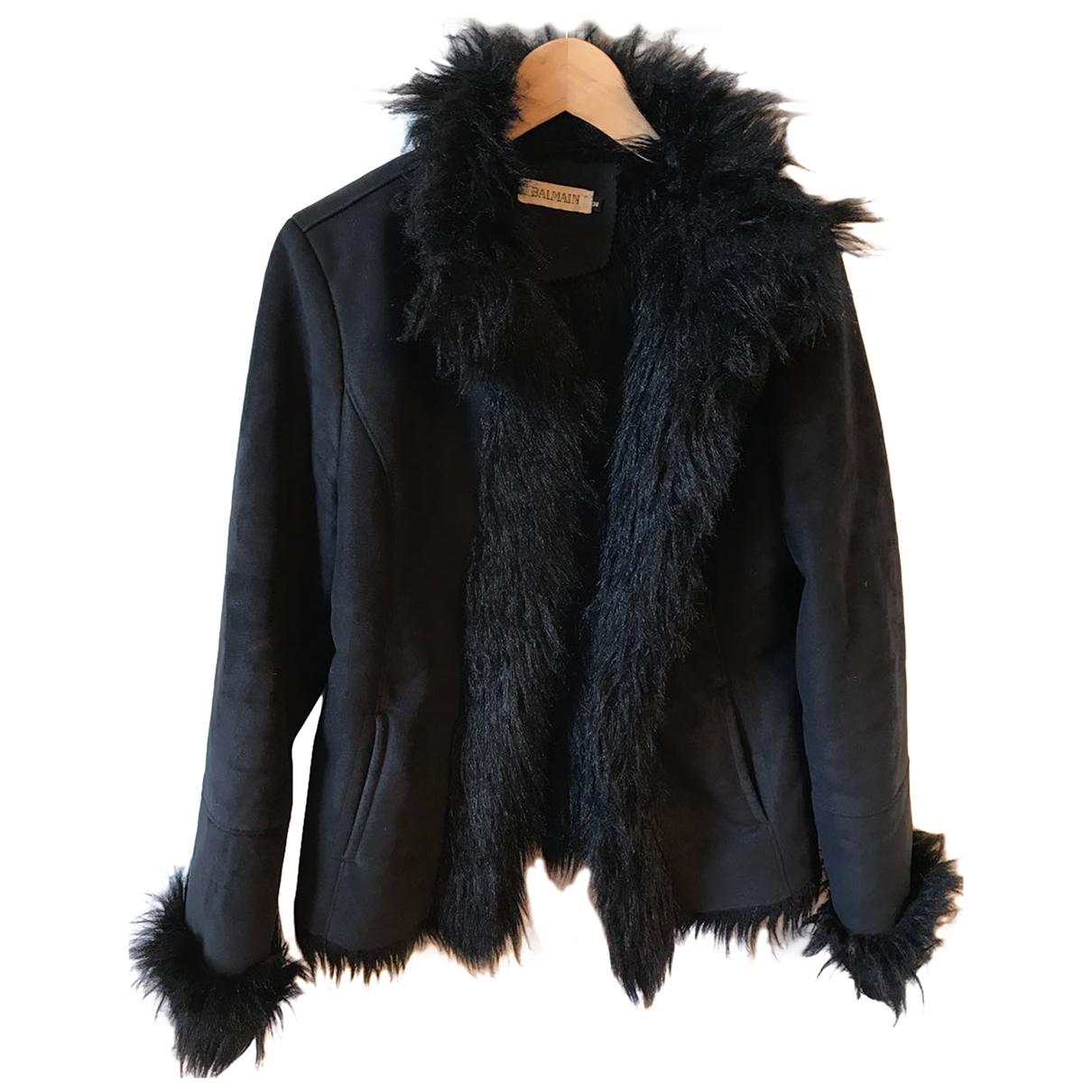 Balmain \N Black Faux fur coat for Women 38 FR