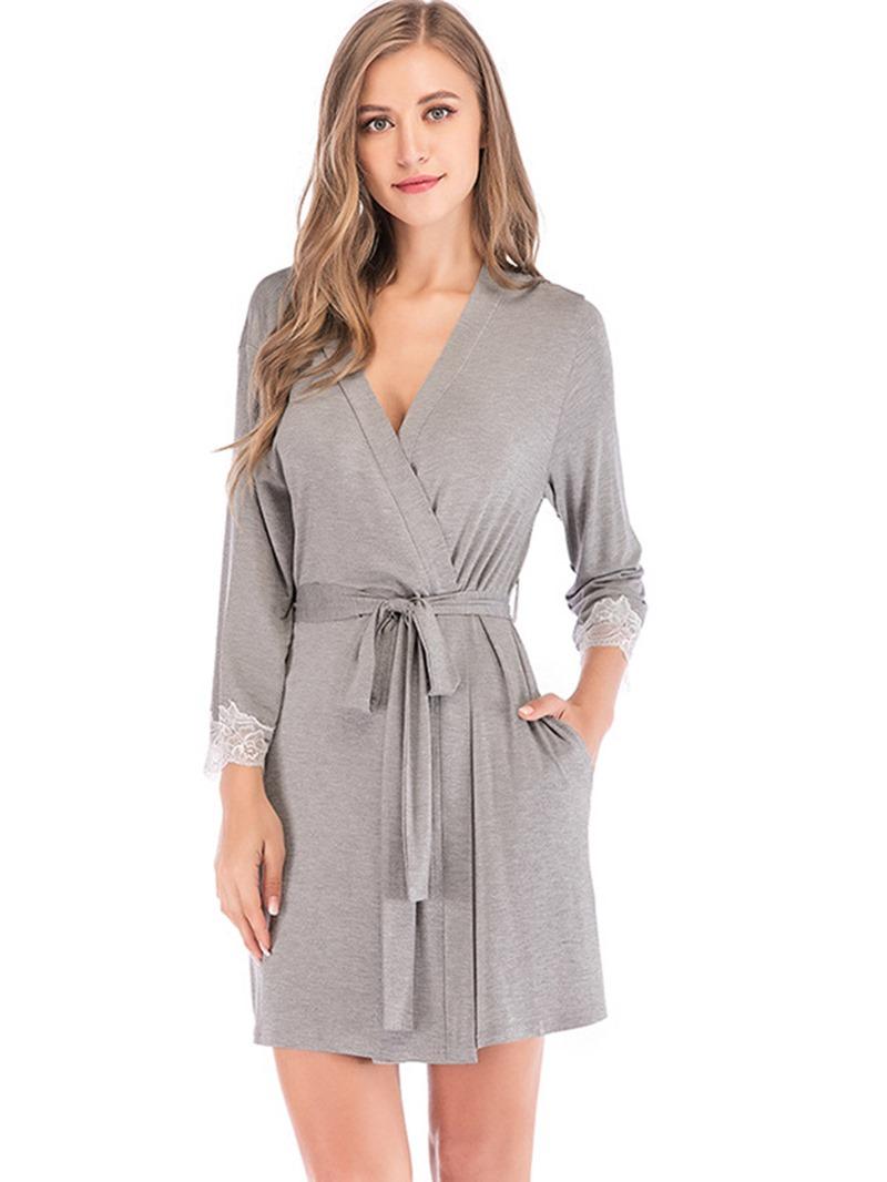 Ericdress Lace-Up Single Plain Regular Loose Night-Robes