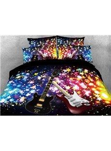 Vivilinen Sparkle Cool Guitar Printed 4-Piece Black 3D Bedding Sets/Duvet Covers