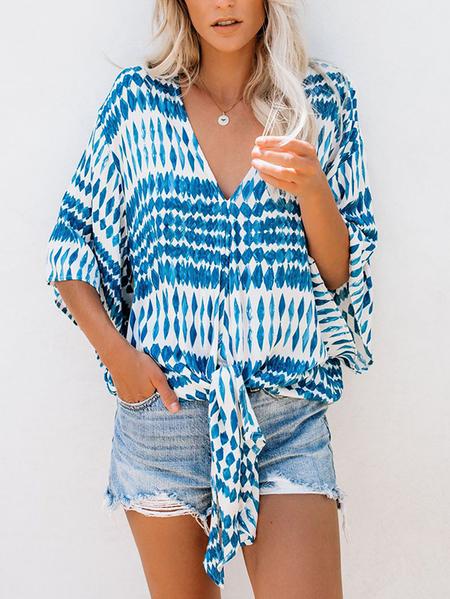 Yoins Blue Tie-up Design Geometric Print V-neck Short Sleeves Blouse
