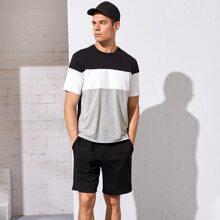 Schwarz Colorblocks Laessig Maenner Zweiteilige Outfits