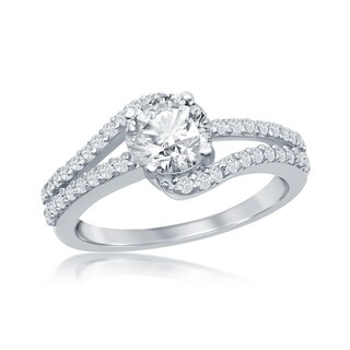 La Preciosa 925 Sterling Silver High Polished Round Cubic Zirconia with Half Double Bridal Engagement Band Ring (8)