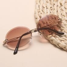 Rimless Oval Frame Sunglasses