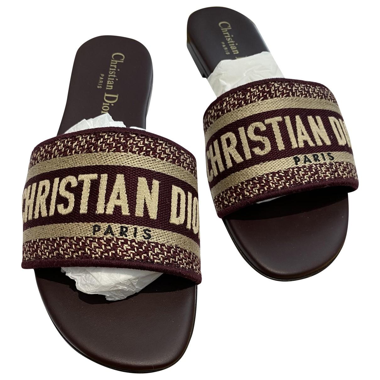 Dior Dway Burgundy Cloth Sandals for Women 37 EU