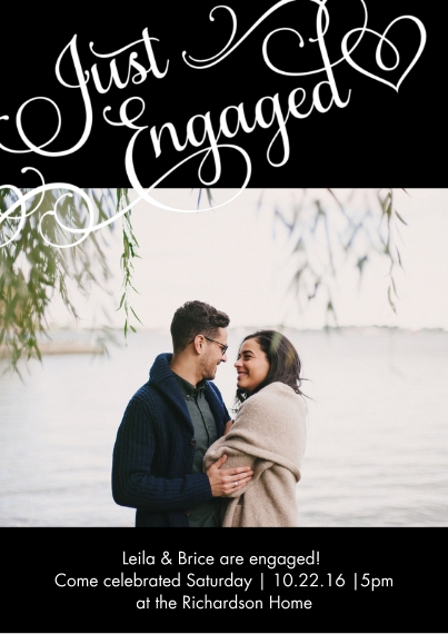 Engagement Party Invitations 5x7 Cards, Premium Cardstock 120lb with Elegant Corners, Card & Stationery -Engaging Hearts