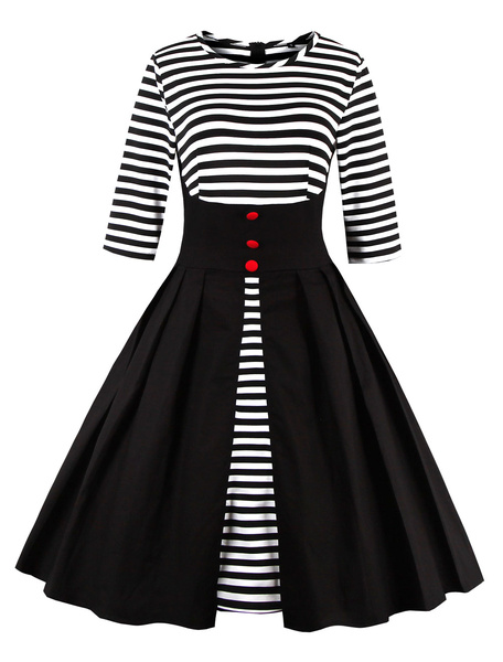 Milanoo Black Vintage Dress Round Neck 3/4 Length Sleeve Striped Cotton Slim Fit Pleated Flare Dress