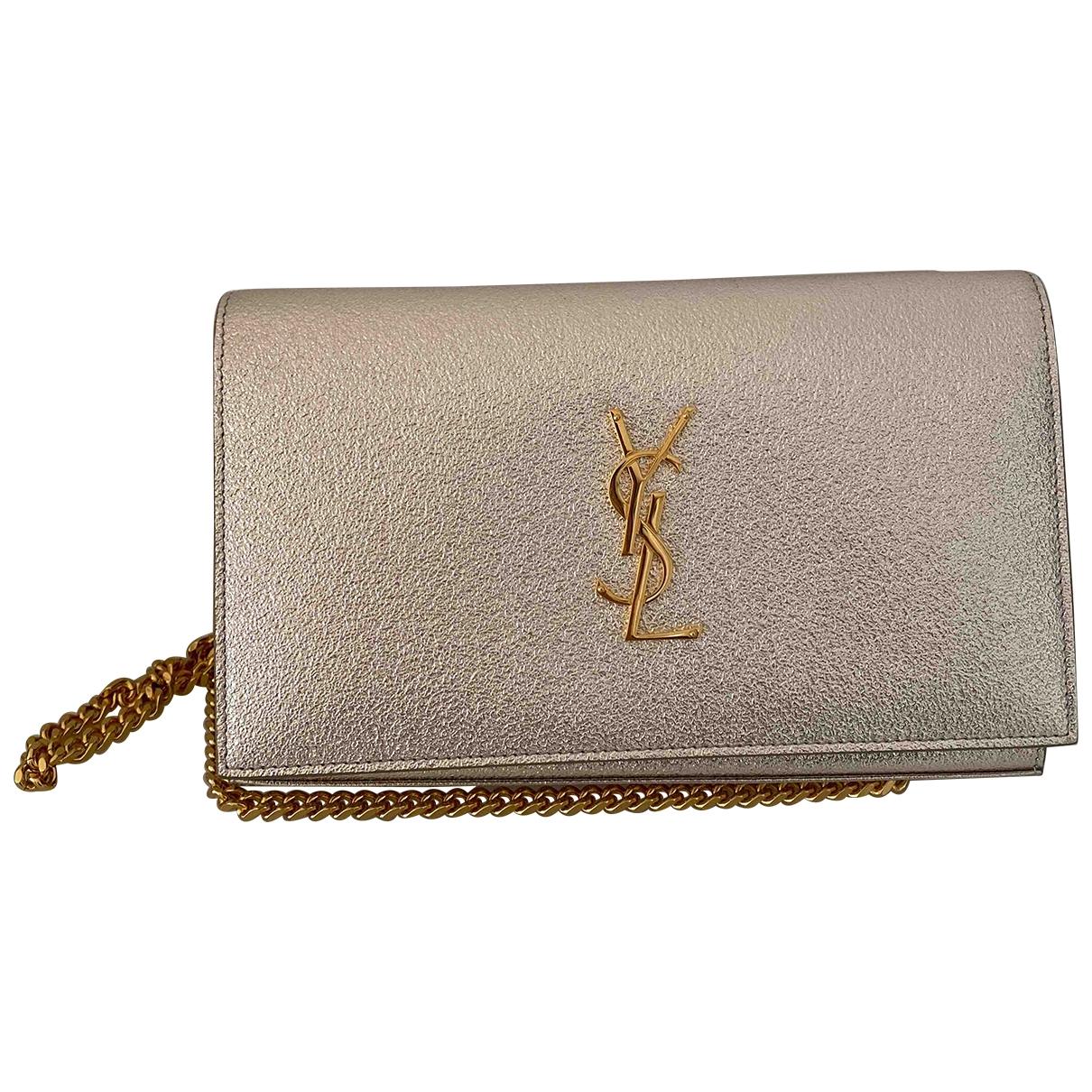 Saint Laurent Kate monogramme Handtasche in  Gold Leder