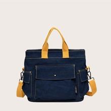Two Tone Denim Satchel Bag