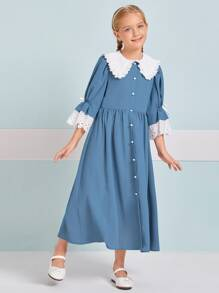 Girls Contrast Collar Eyelet Embroidered Cuff Button Front Dress
