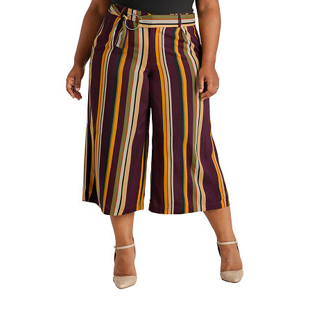 Poetic Justice Womens High Rise Over Belly Wide Leg Palazzo Pant-Plus, 18w , Purple