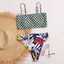 Bikini Badeanzug mit Geo & Blumen Muster und hoher Taille