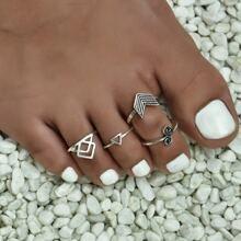 4 piezas anillo geometrico