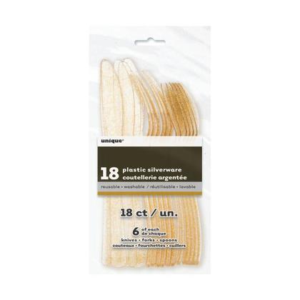 Couverts en plastique de paillettes d'or de Thanksgiving 18pcs / pack