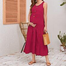 Maternidad vestido smock con boton delantero
