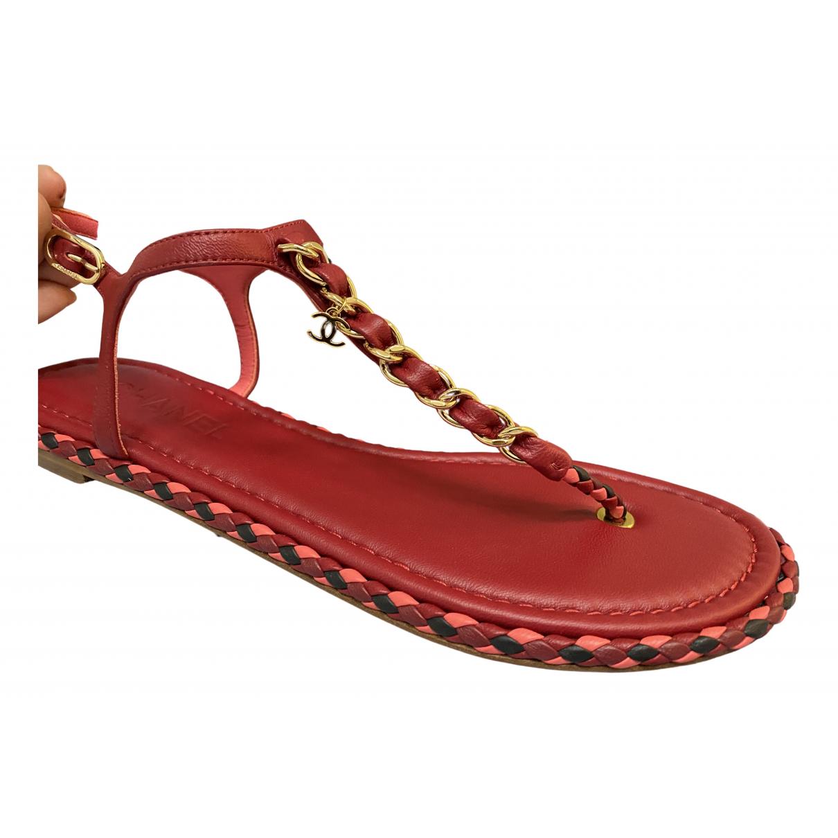 Chanel \N Sandalen in  Rot Leder