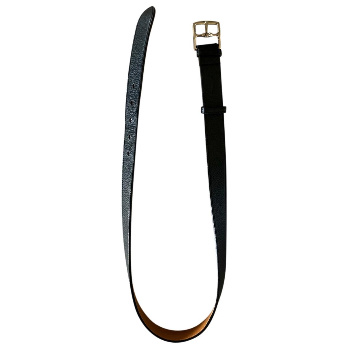 Hermès Etrivière Black Leather belt for Men 95 cm