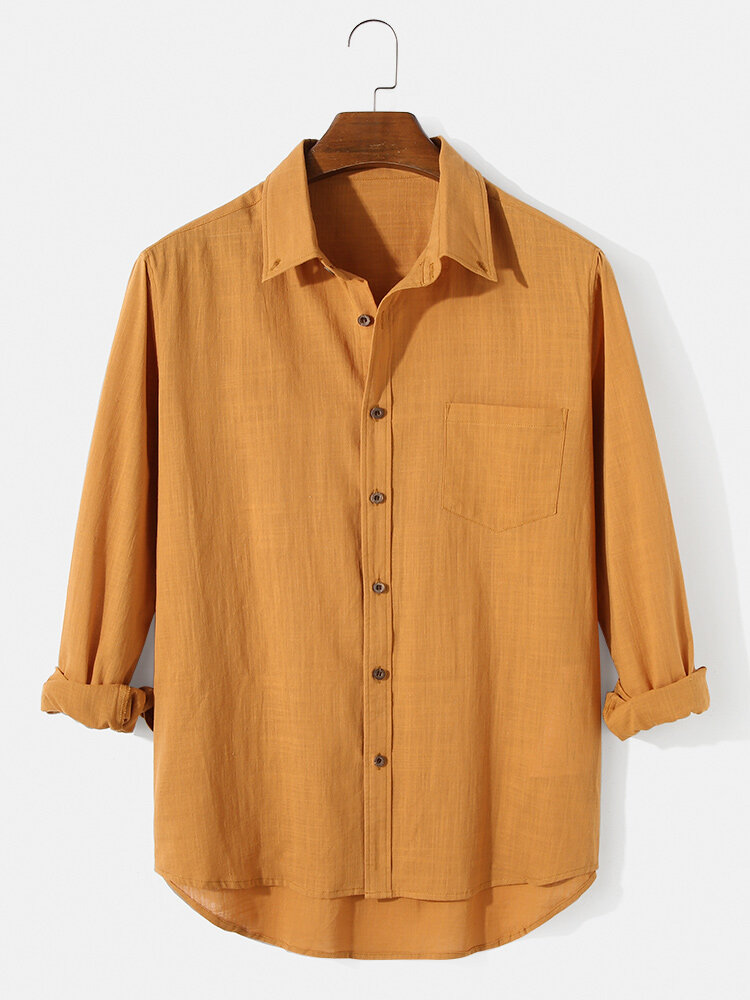 Mens 100% Cotton Solid High Low Hem Button UpLong Sleeve Shirts With Pocket