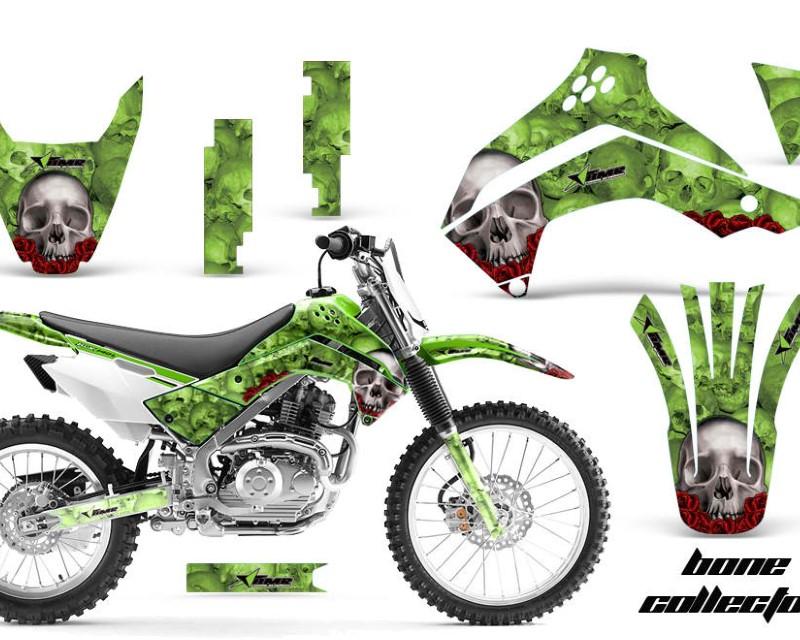 AMR Racing Dirt Bike Decal Graphics Kit Sticker Wrap For Kawasaki KLX140 2008-2018?BONES GREEN