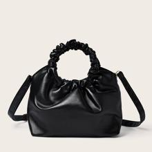 Ruched Handle Satchel Bag