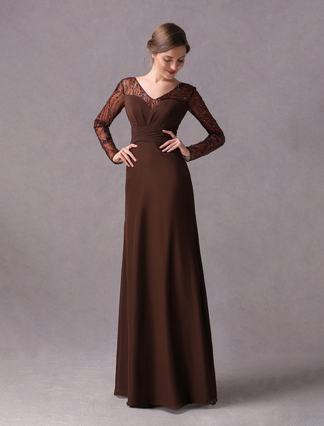 Milanoo Mother Of The Bride Dresses Long Sleeve V Neck Deep Brownchiffon Beaded Wedding Party Dress