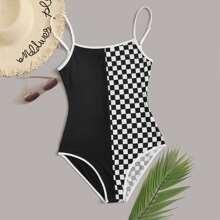 Contrast Checkerboard Cami Bodysuit