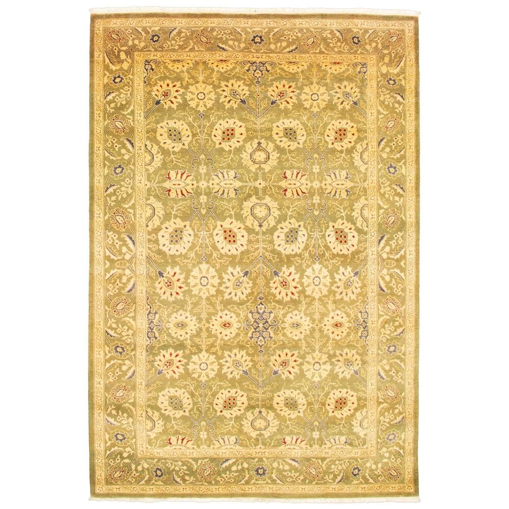 ECARPETGALLERY  Hand-knotted Peshawar Finest Ottoman Olive Wool Rug - 6'0 x 9'0 (6'0 x 9'0 - Olive)