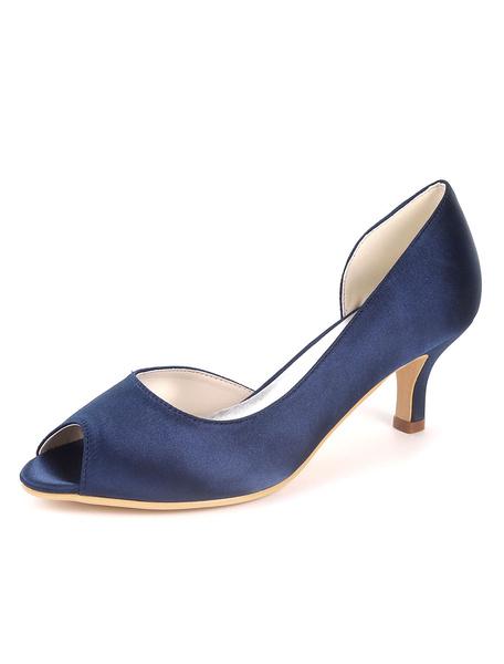Milanoo Zapatos de novia de saten Zapatos de Fiesta Azul tinta Zapatos de punter Peep Toe Zapatos de boda 6cm