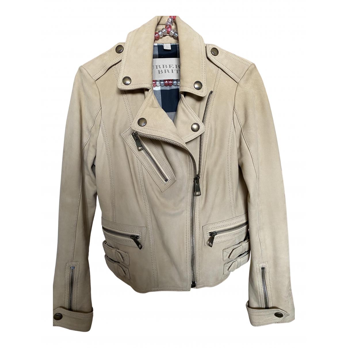 Burberry - Veste   pour femme en cuir - beige