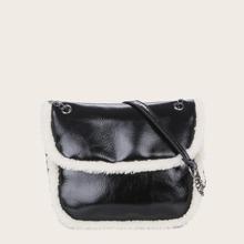 Contrast Binding Flap Shoulder Bag