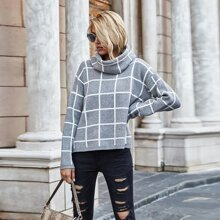 Grid Pattern High Neck Sweater