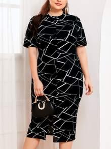 Plus Mock-Neck Split Hem Geo Print Dress