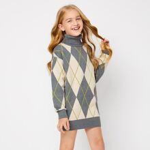 Kleid mit hohem Kragen und Argyle Muster