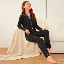 Contrast Binding Button Front Pajama Set