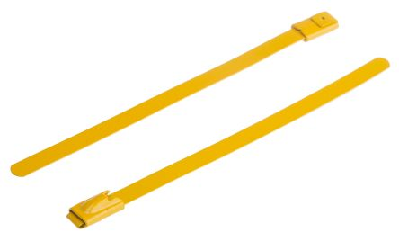RS PRO Yellow Polyester Coated Stainless Steel Roller Ball Cable Tie, 100mm x 4.6 mm