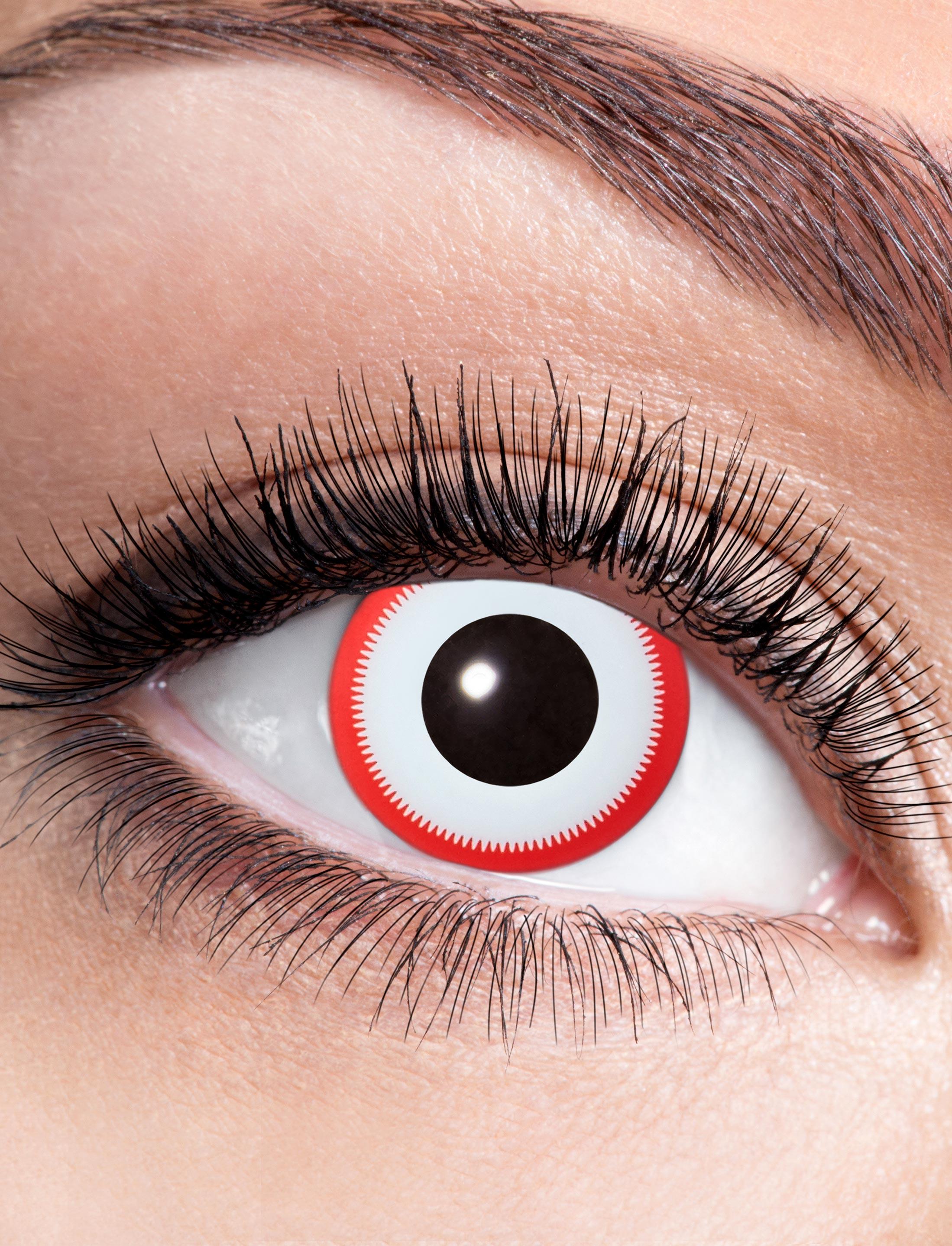 Kostuemzubehor Kontaktlinsen Saw 2 Farbe: rot/weiss