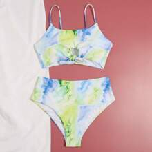 Tie Dye Knot Hem High Waisted Bikini Swimsuit
