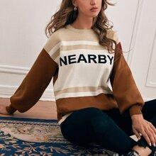 Jersey de manga farol de color combinado con patron de letra